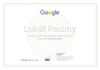 Certifikát - Digitální garáž - Google 2018